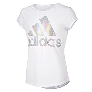 adidas Girls  Big Short Sleeve Scoop Neck Tee T-Shirt White BOS Foil Rainbow Medium