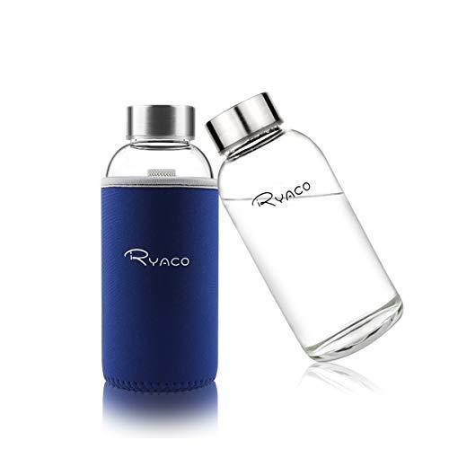 Ryaco Botella de Agua Cristal 360ml, Botella de Agua Reutili