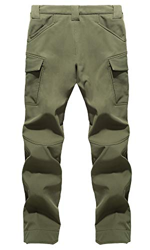KEFITEVD Men's Soft Shell Tactical Trousers Warm Fleece Lining Ski Trouser Water Repellent Cargo Pants with Multi…