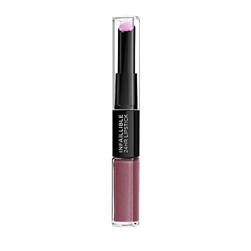 L'Oreal Paris Lippen Make-up Infaillible Lippenstift, 209 Violet Parfait /Liquid Lipstick für 24 Stunden volle Lippen mit feuchtigkeitsspendendem Lippenpflege - Balsam, 1er Pack
