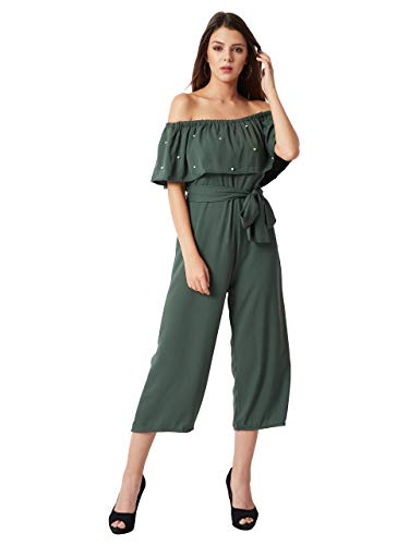 Miss Chase Women's Crepe Off-Shoulder Jumpsuit(MCSS18D10-76-48-05,Green,Large)