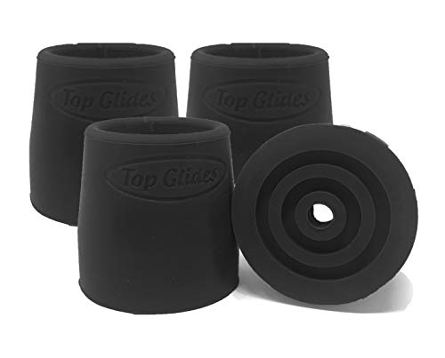 Top Glides Steel-Reinforced Walker, Commode, and Bath Bench Replacement Rubber Tips, Black, 1' (Pack of 4)