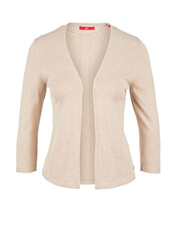 s.Oliver RED Label Damen Cardigan mit Lochmuster-Details Brown Melange 44