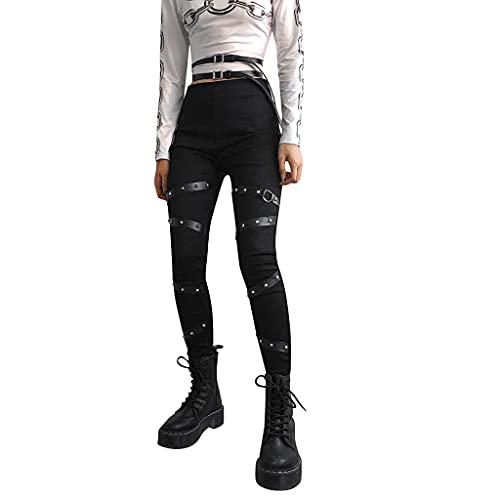 cinnamou Damen Gothic Hose Damen Cool Hosen Lange Streetwear Punk Steampunk Hose Slim Fit Leggings Cargohosen Solid Schwarz Seitengurt (Punk Gothic, M)