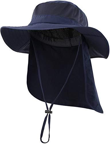 (コネクタイル)Connectyle アウトドア ユニセックス UPF50+ メッシュ サファリハット つば広 日焼け防止 農作業 帽子 UVカット ハット,ネイビーブルー