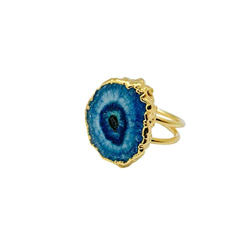 [NEW] Handmade Adjustable Raw Agate Ring, Statement Jewellery for Stylish Women & Girls, Gold Plated Geode Gemstone Succulent Jewelry (Turqoise Blue)
