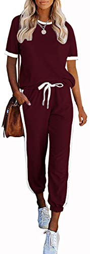 PRETTYGARDEN Women's 2 Piece Outfits Side Stripe Pullover Shirts and Long Pants Jogger Lounge Sweatsuit Sets