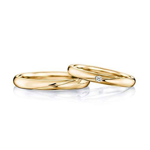 AMDXD 2Pcs FEDI Nuziali Oro Giallo 18kt Lucido Linea Diamante 0.04ct Anello Coppia Oro Anello Diamante Donna Misura 20 & Uomo Misura 16
