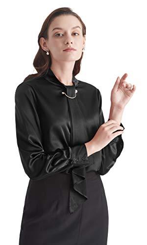 LilySilk Seidenhemd Seidenbluse Damenhemd Schluppenbluse Damen Langarm Verpackung MEHRWEG (XS, Schwarz)