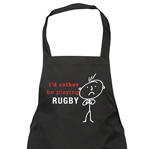 Hombre Id Rather Be Playing Rugby Delantal Negro Novedad Divertido Cumpleaños Regalo Navidad Padre abuelo novio AMIGO