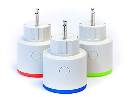 Juego de 3 enchufes inteligentes con wifi, compatible con Amazon Alexa, Google Assistant, Smart Life APP, luz nocturna LED regulable, temporizador y programación, no requiere hub, 16 A, 2,4 GHz