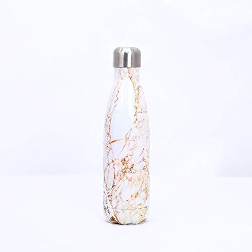 Heliansheng Botella de Agua de Bolos de galvanoplastia 04 Botella de Agua Deportiva de Acero Inoxidable Termo-Jade dorado-500ml