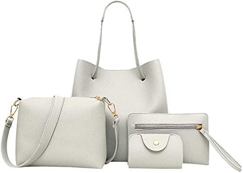 MRZJ Juego de 4 bolsos de mano para mujer (bolso grande + bolso bandolera + cartera de clutch + paquete para tarjetas), color blanco
