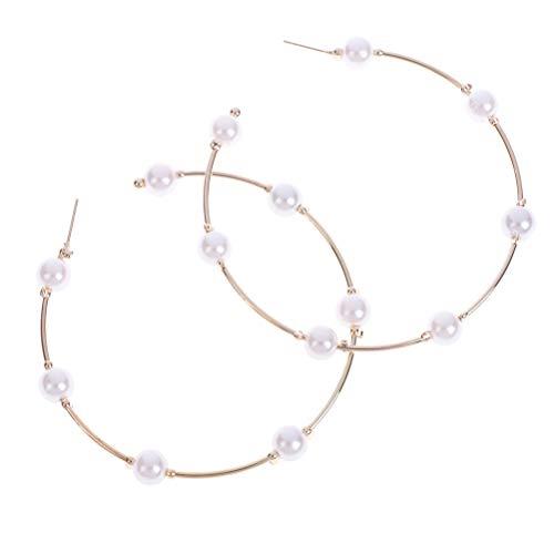 Qingsi 1 par de pendientes de perlas grandes círculos, de color dorado, de metal, de perlas, arete de aro circular, aretes de perlas grandes de círculo