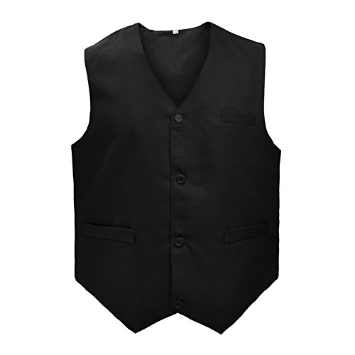 TOPTIE Unisex Button Vest Work Wear Uniform Vest-Black-S