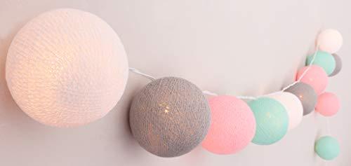 CREATIVECOTTON handgearbeitete LED Lichterkette mit Cotton Balls inkl. Timer und Dimmer (20 Kugeln)