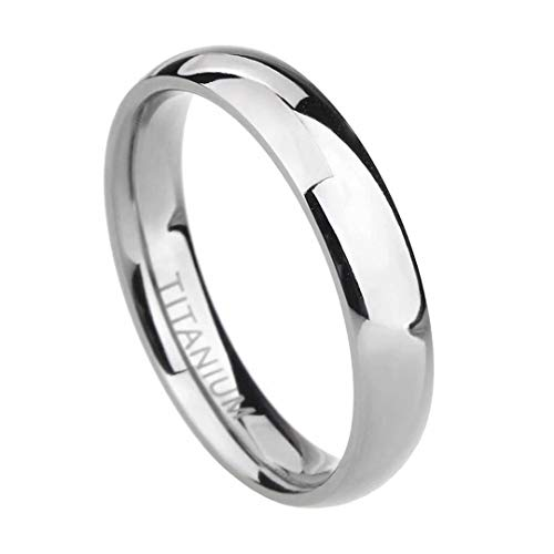 TIGRADE 2mm 4mm 6mm 8mm 10mm Titanium Ring Plain Dome High Polished Wedding Band Comfort Fit Size 3-15 (4mm, 10)