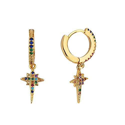 LIUBAOBEI Pendientes De Mujer Aro,Pendientes De Circonita con Encanto De Oro Pendientes De Aro con Cruz Gótica De Cristal Arcoíris Joyas para Mujer-E