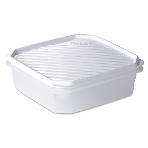 Tatay Fiambrera de Alimentos, Hermética, 1.3L de Capacidad, Tapa Flexible a Presión, Libre de BPA, Apto Microondas y Lavavajillas, Color Blanco, Medidas: 18,5 x 18,5 x 6,1 cm