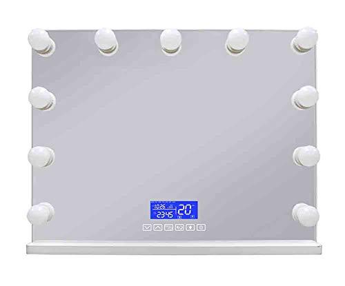 JFSKD Tabletop Hollywood Spiegel mit Beleuchtung Bühne Schminkspiegel mit Licht LED beleuchtet Theaterspiegel Mauer Montiert Spiegel groß Freie 11 Glühbirnen