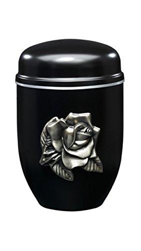 Urns UK Urna de Cremación para Adultos Cenizas Metal Steel-Perth Rosa Negra, 18,5 x 18,5 x 30 cm