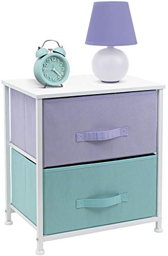 Sorbus Nightstand with 2 Drawers - Bedside Furniture & Accent End Table Chest for Home, Bedroom Accessories, Office, College Dorm, Steel Frame, Wood Top, Easy Pull Fabric Bins (Pastel/White)