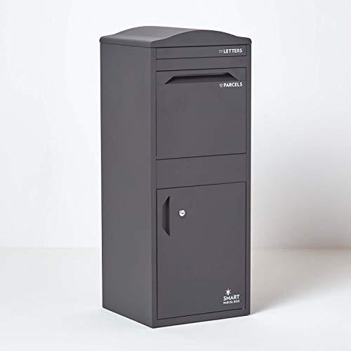 Große Smart Parcel Box mit gebogenem Dach, Paketbriefkasten mit Paketfach und Briefkasten, sichere Paketbox mit Rückholsperre, für alle Zusteller, 42 x 39 x 104 cm, dunkelgrün