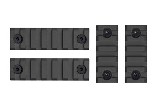 Monstrum M-LOK Aluminum Picatinny Rail Pack | Includes Two 2-inch and Two 3-inch Rail Sections | Black