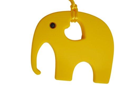 Elefant Beißring für Babys & Zahnungshilfe beim Zahnen, BPA Frei – perfektes Baby Spielzeug & Geschenk – in 12 Farben erhältlich (Gelb)
