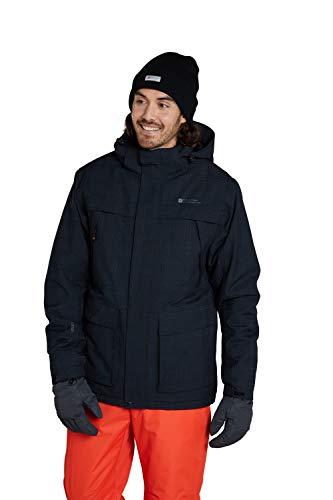 Mountain Warehouse Apollo Herren Skijacke - Wasserfeste Snowboardjacke, atmungsaktiv, schnelltrocknend, versiegelte Nähte, Skipassfach - Ideale Winterjacke Schwarz XL