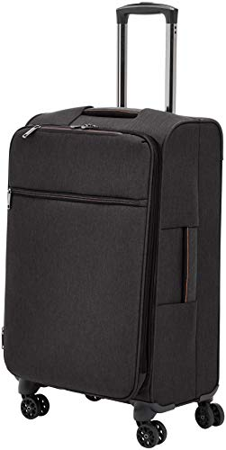 AmazonBasics Belltown, Softside Expandable Luggage Spinner Suitcase with Wheels, 26 Inch, Black