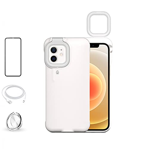 Phone Case Built-in Selfie Ring Light for iPhone 11 Pro Max, LED Illuminated Selfie Light Up [Rechargeable] Luminous Flashlight Cellphone Case Cover for iPhone 11 Pro Max (White)
