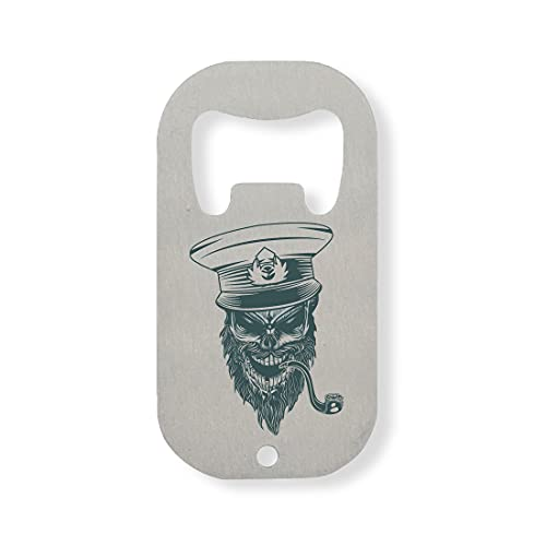 Skull Ship Captain Smoking Pipe Sail The Sea Stainless Steel Bottle Opener Silver