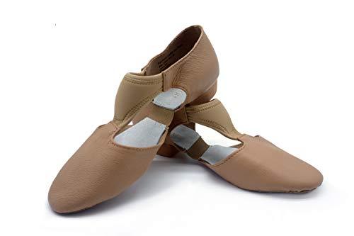 DANCEYOU Zapatos de Jazz para Mujer con Suela Blanda Zapatos de Baile Latino para Hombre Sandalias de Enseñanza de Baile de Cuero para Baile de Salón Salsa Latina Moderna, Marrón EU 36.5/37