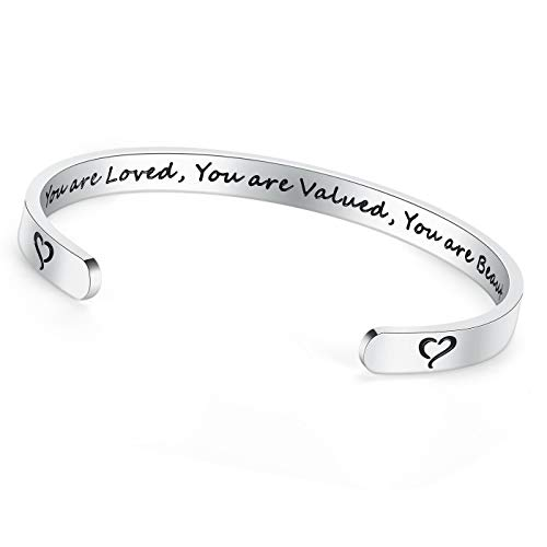TONY & SANDY You Are Loved You Are Valued You Are Beautiful Inspirational Gifts Bracelet Cuff Bangle Mantra Quote Engraved Stainless Steel Silver Motivational Friendship Jewelry for Teen Girls
