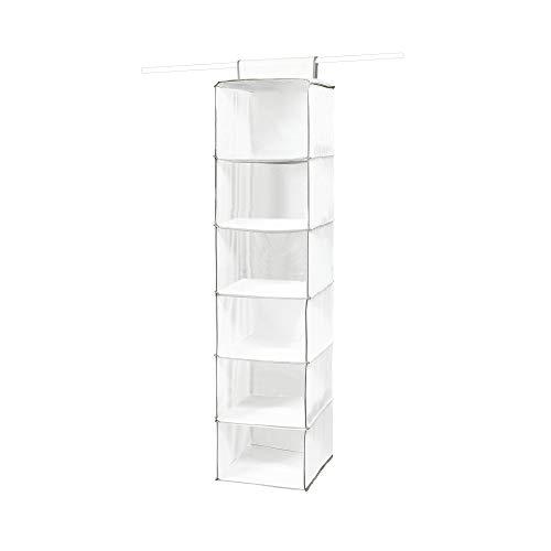 Compactor Étagère Souple Suspendue pour Vêtements, 6 Compartiments, Blanc, Polypropylène, 30 x 30 x H. 128 cm, RAN1527