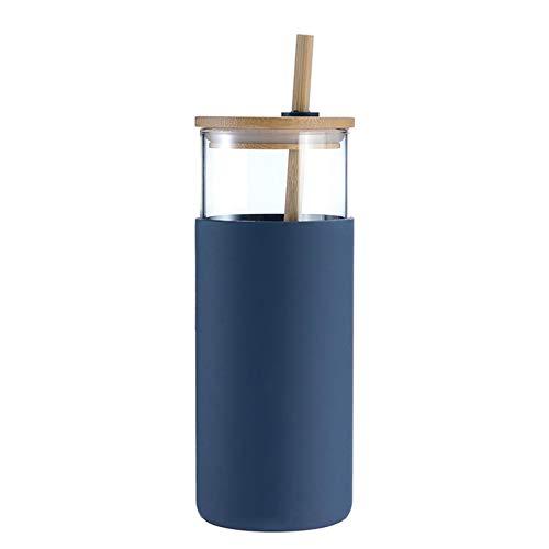 Vaso térmico con pajita y tapa abatible, 450 ml, vaso de plástico para smoothie, con pajita, sin BPA
