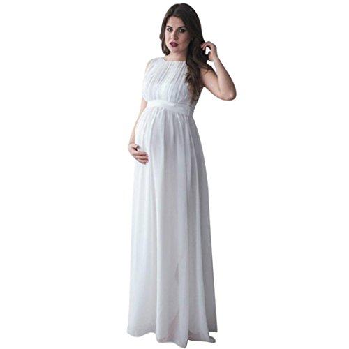 Yesmile Vestido de Mujer Falda Blanco Ropa Vestido Elegante de Noche para Boda Fista Las Mujeres Embarazadas Cubren los Vestidos Largo de la Fotografía Casual Nursing Boho (Blanco, S)