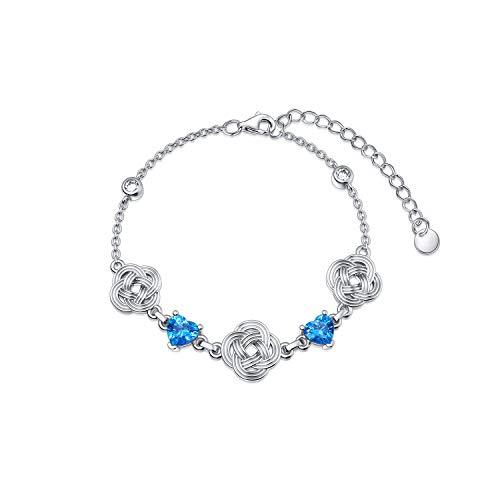 RMREWY Celtic Knot Bracelet/Anklet 925 Sterling Silver Love Knot Bracelet Good Luck Irish Celtic Knot Adjustable Bracelet for Women Mom