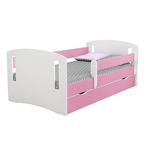 Selsey - Kinderbett MIRRET Weiß/Rosa mit Rausfallschutz, Matratze und Schubkasten, für Mädchen, 140x80 cm