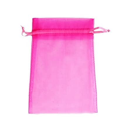 O1-Pink 96pc Drawstring Organza 3x4 Gift Bag