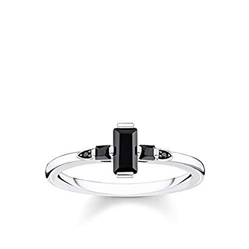 Thomas Sabo Damen-Ring Stein Baguette-Schliff schwarz 925 Sterlingsilber TR2266-643-11-52