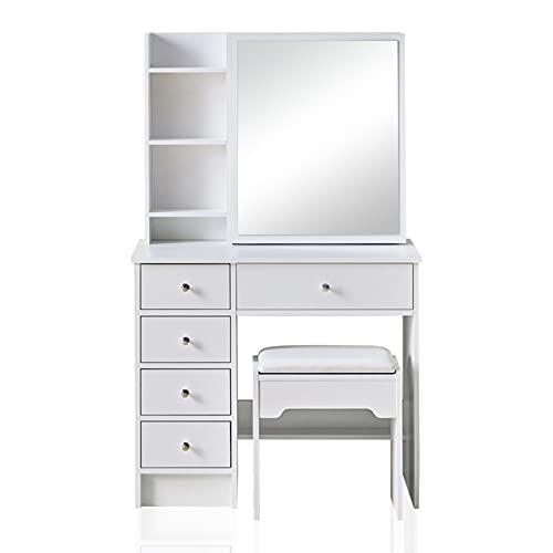 TUKAILAi White Vanity Dressing Table Set Corner Makeup Desk with 5 Drawers, 1 Slide Mirror, 7 Shelves and Stool Bedroom Furniture