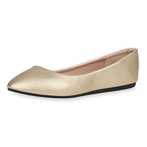 SCARPE VITA Damen Klassische Ballerinas Leder-Optik Schuhe Slipper Freizeitschuhe Slip On Flats Flache Abendschuhe 188415 Gold Metallic 37