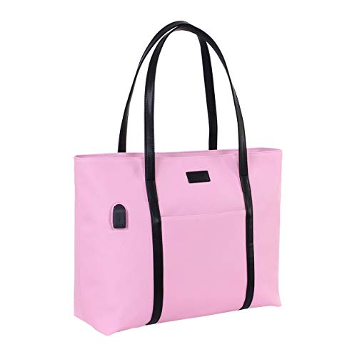 Laptop Tote Purse Large, Business Women Work Bag Teacher Tote Bag Many Pockets (Pink)