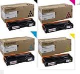 Ricoh 4 Color OEM for Ricoh SP C250DN SP C250SF Toner Set (2,300 Yield Each) 407539, 407540, 407541, 407542