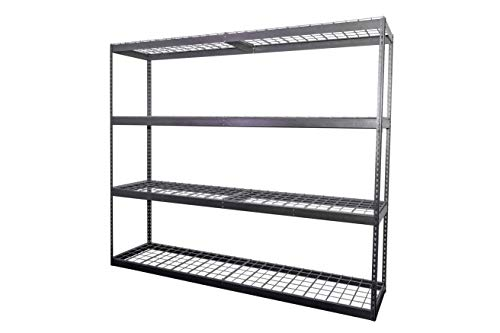 MonsterRax 24'x92'x84'Garage Shelving - Hammertone Bolted Shelving Rack - 500 Pounds Per Shelf High Grade Steel (24'x92'x84')