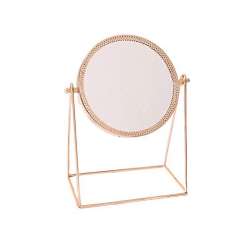 Lurrose maquillage grossissement miroir décoration miroirs en métal rond miroir bureau miroir à la maison miroir cosmétique pour filles femmes dames (or rose)