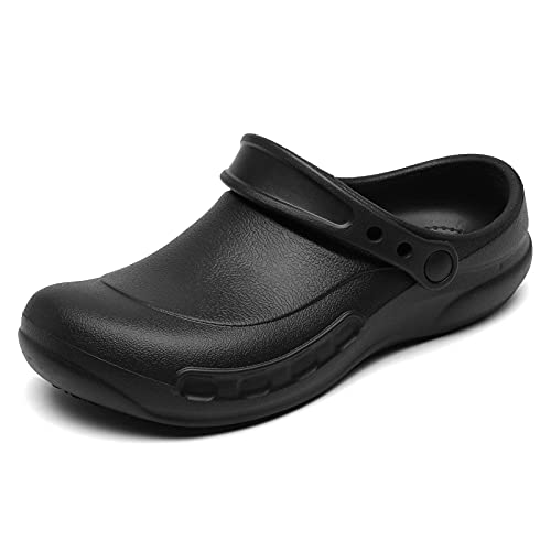 JSWEI Professional Slip Resistant Clogs | Oil Resistant Waterproof | Safety Work for Crews Non Slip for Chef Nurse Shoes | Garden Shoe Indoor and Outdoor Slippers for Kitchen Office Seaside Black 9