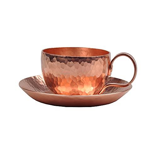 XXSC-ZC Taza de Agua de Cobre Puro, Copa de Vino, Taza de té, Taza, Taza de café, Taza de Desayuno, Taza de Jugo, Regalo Creativo Hecho a Mano, Conjunto de platillos de Cobre de la Taza de Cobre
